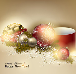 Beautiful Christmas background with red and golden balls.  Golde