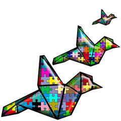 oiseaux migrateurs origami vitrail puzzle