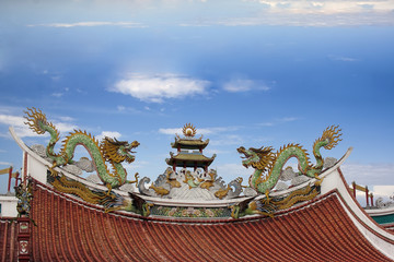 dragons on the roof of a Buddhist temple