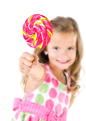 Happy little girl with lollipop foreground isolated