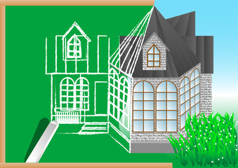 green blackboard with architectural project