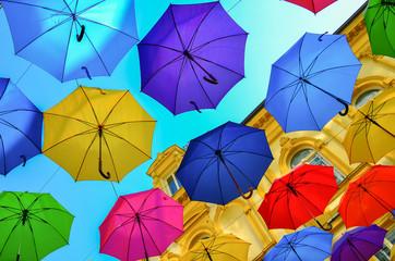 Umbrellas in the air