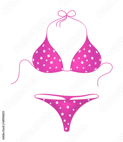 Pink bikini suit with white dots - 68946635