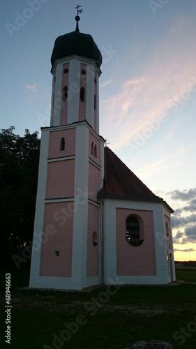 canvas print picture Kirche Abendstimmung Bayern