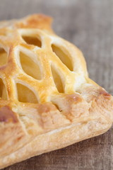 Close - up Pineapple pie on wooden background