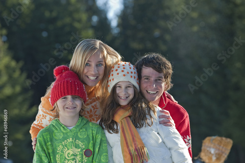 canvas print picture Familie lächelnd