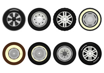 Set of cartoon car wheels on a white background. Vector