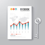 Fototapety Cover Book Digital Design Template Key of Business Concept.
