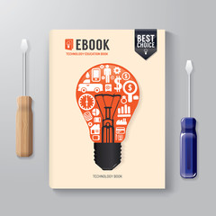 Cover Book Digital Design Template Technology Concept.