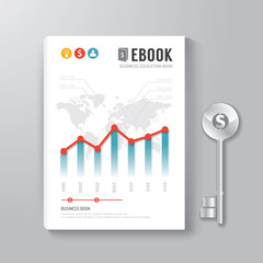 Cover Book Digital Design Template Key of Business Concept.
