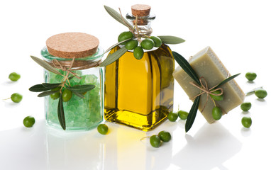 olive soap and bath salt and oil with green olives