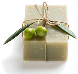 Natural vegetal soap of olive