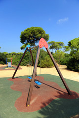 Swing set in a playground