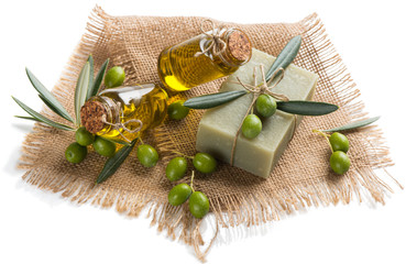Green olives, soap with olive oil