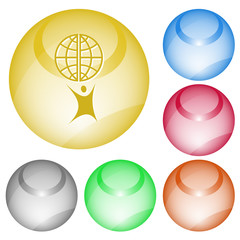 Little man with globe. Vector interface element.