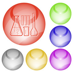 Chemical test tubes. Vector interface element.