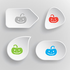 Pumpkin. White flat vector buttons on gray background.