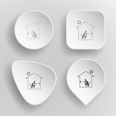 Home toilet. White flat vector buttons on gray background.