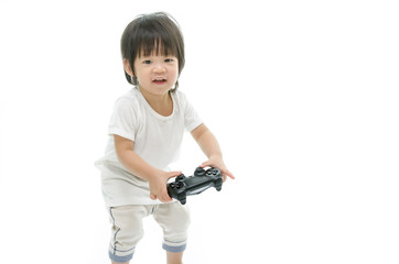 Little  asian baby using video game controller.