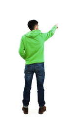 Back view of pointing young men in sweatshirt and jeans