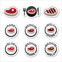 Steak - medium, rare, well done, grilled icons set