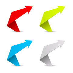 arrow folding paper icon 3d
