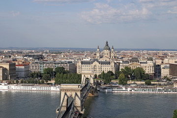 Budapest cityscape Chain bridge and Saint Stephen's Basilica