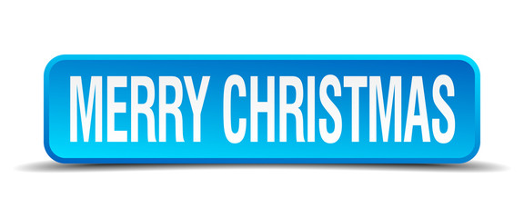 merry christmas blue 3d realistic square isolated button