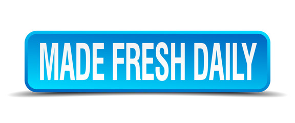 made fresh daily blue 3d realistic square isolated button