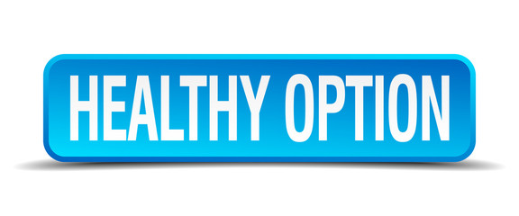 healthy option blue 3d realistic square isolated button