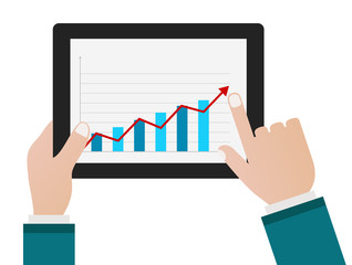 person hand with tablet pc and chart business diagram