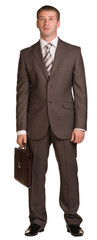 Standing businessman with briefcase