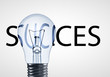 lamp and success text