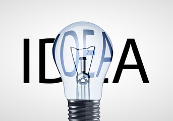 lamp and idea text