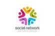 Zdjęcia na płótnie, fototapety, obrazy : Social Team Network Logo design vector. Teamwork logotype