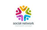 Social Team Network Logo design vector. Teamwork logotype - 68950678
