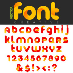Font design vector rounded funny cartoon. Logo Letters