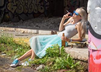 Young urban girl having bad habits