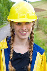 Young woman in workwear