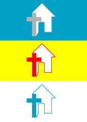 Cross home, art vector logo design