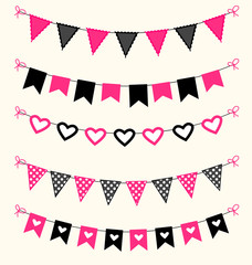 Bunting set pink and black scrapbook flags design elements