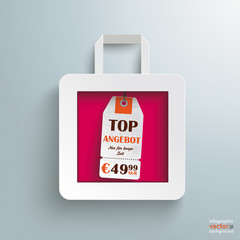 White Paper Shopping Bag Price Sticker