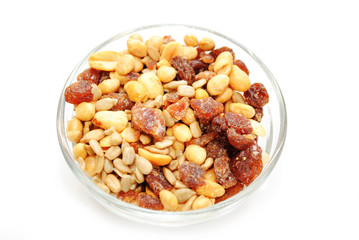Fruit and Nut Trail Mix in a Glass Bowl