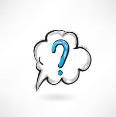 question cloud grunge icon