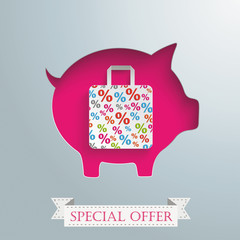 Piggy Bank Shopping Bag Silver Background