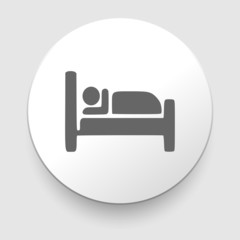 Man sleeping in bed at Motel - Vector icon