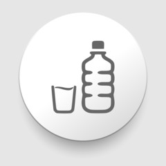 plastic water bottle and glass. Vector