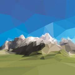 low poly landscape. Mountains and blue sky.