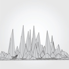 Mountains. Vector 3D concept illustration.