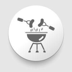vector black barbecue icon on gray